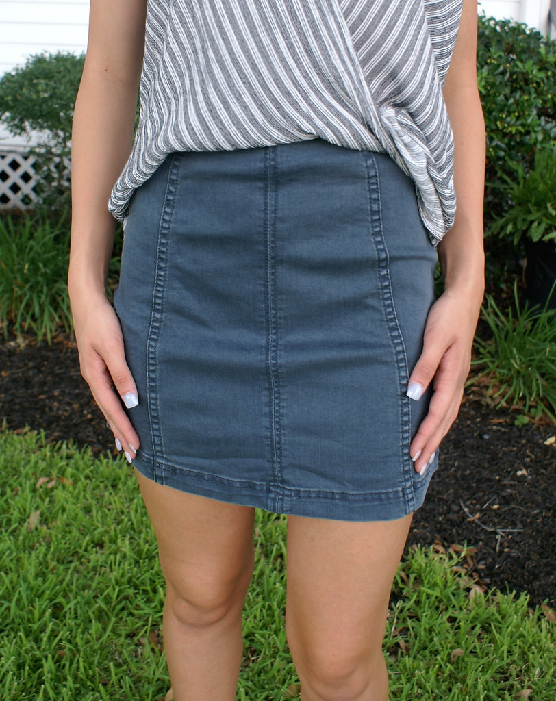 High Waisted Blue Denim Skirt
