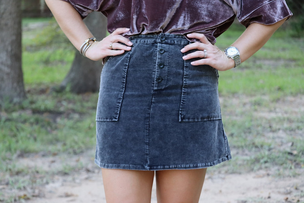Kaycie Washed Cord Skirt