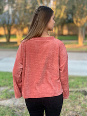 All My Love Coral Crew Neck Sweater