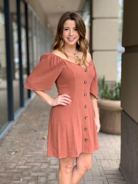 Mink Pink Paradise Mini Dress in Clay