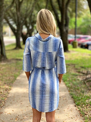 Nova Dress in White and Blue