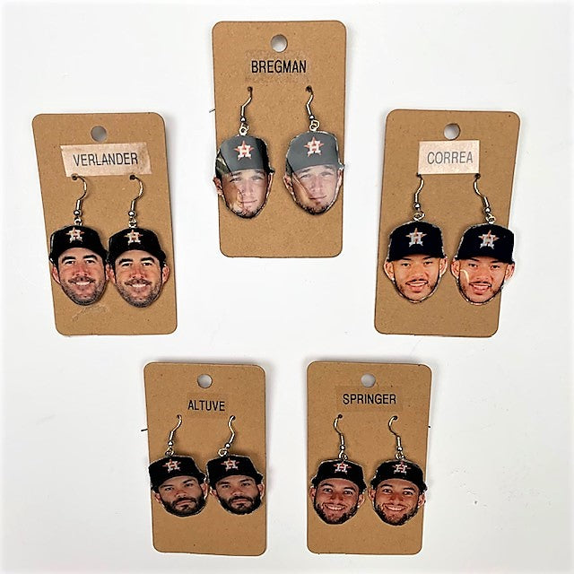 Houston Astros Player Earrings