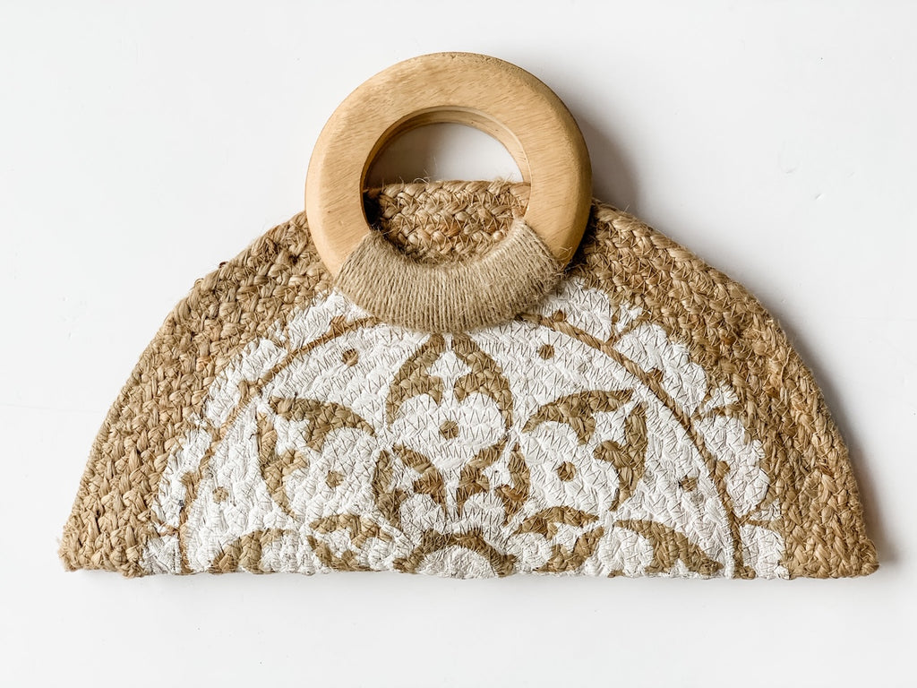 The Half Moon Jute Clutch in White