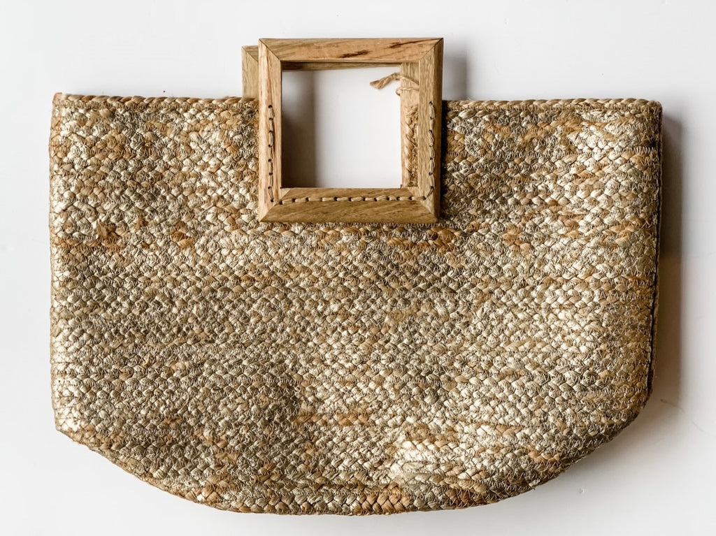 The Bimini Jute/Wood Tote in Gold