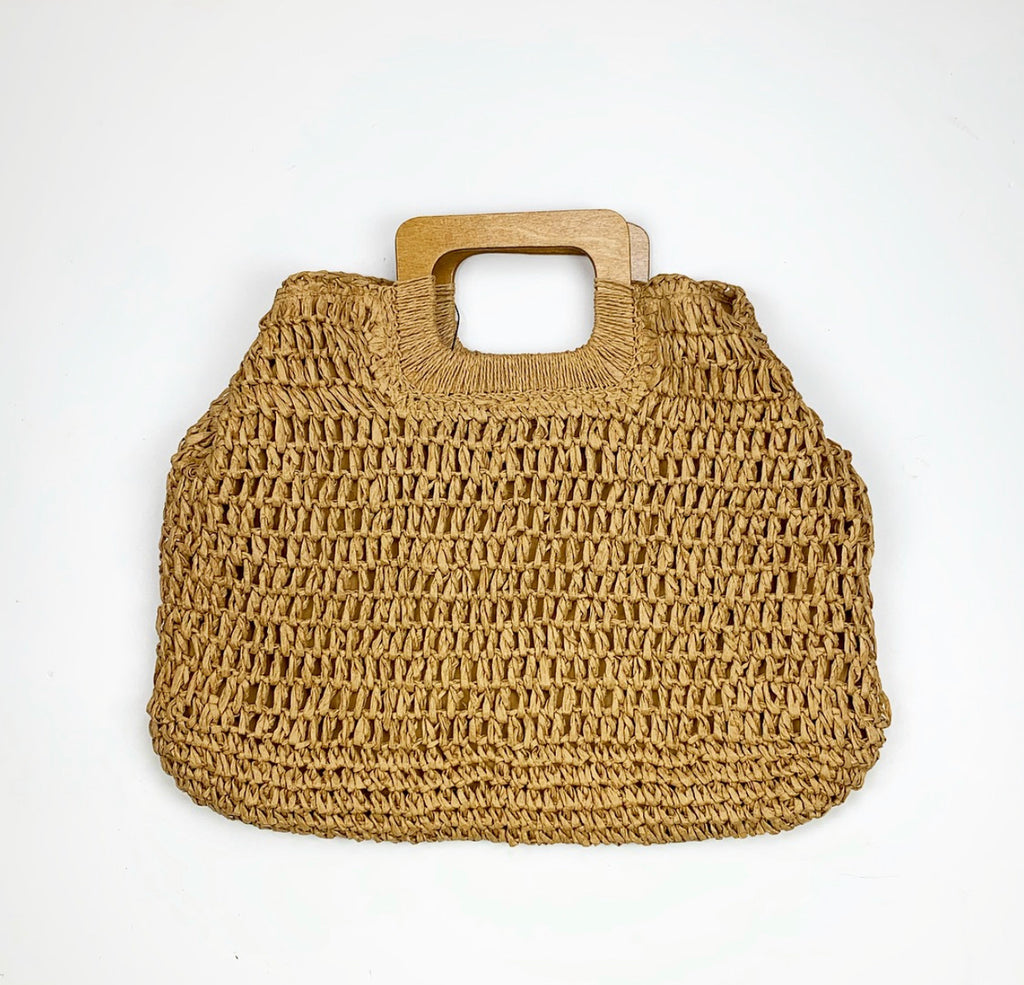 Wood Handle Straw Bag  - Dark