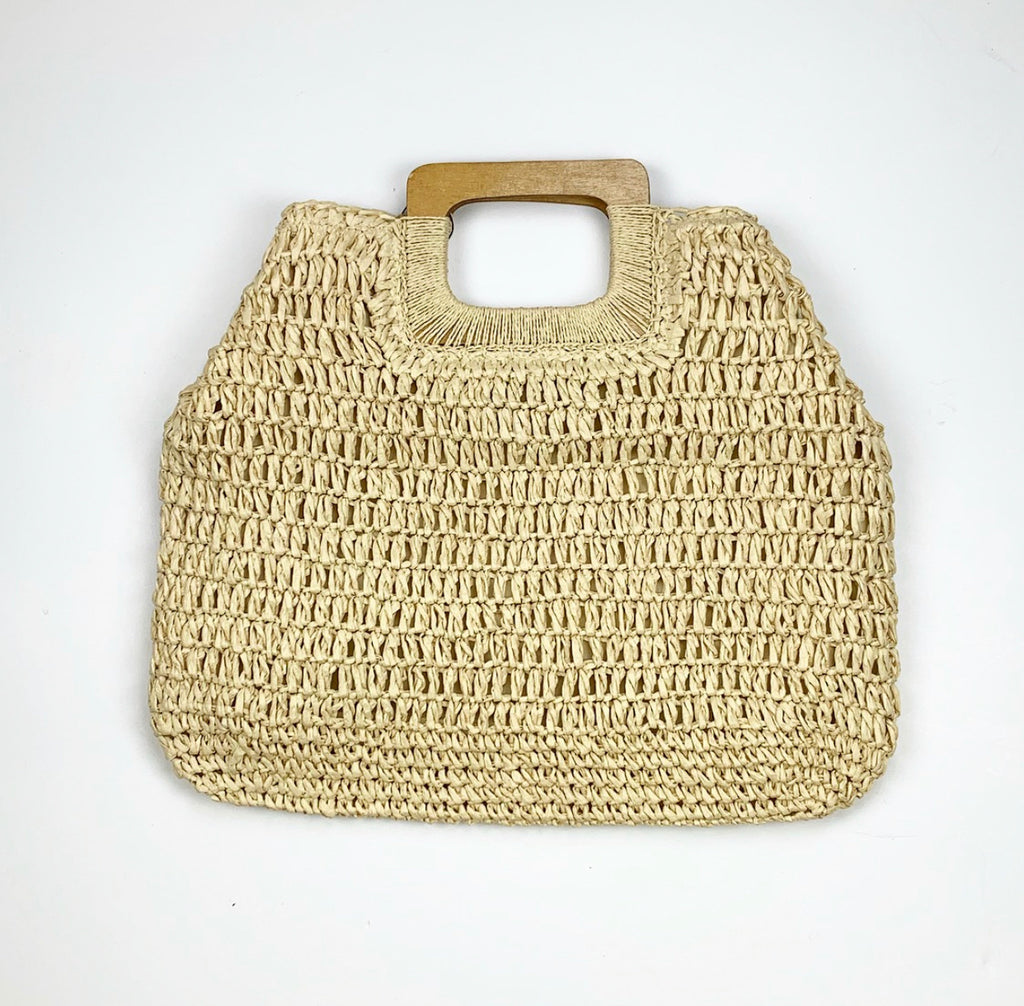 Wood Handle Straw Bag - Light