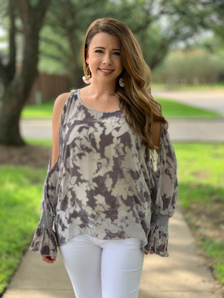 Johnny Was Jamie Cold Shoulder Top in Storm Cloud
