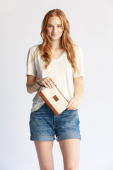 ABLE Abera Canvas Wristlet - Natural/Cognac