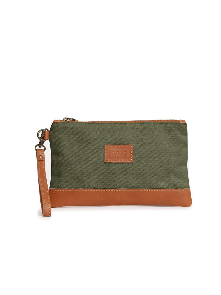 ABLE Abera Canvas Wristlet - Olive/Chestnut