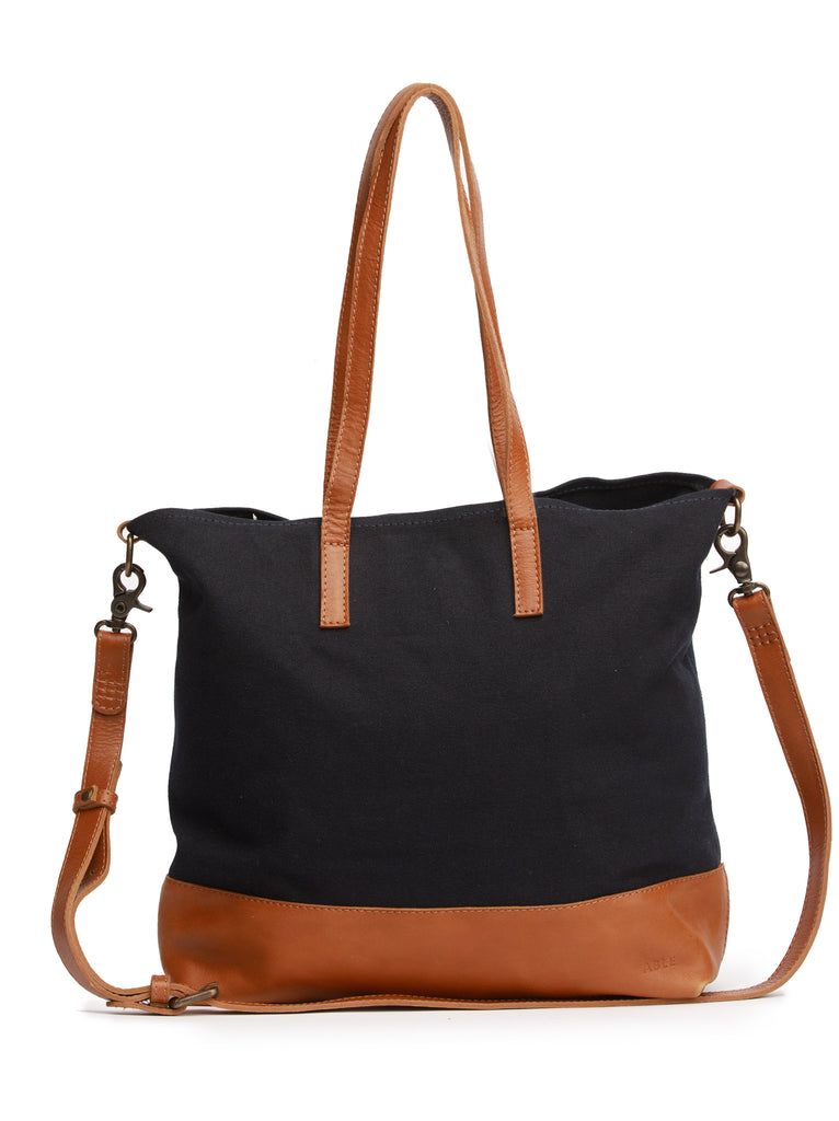ABLE Abera Canvas Crossbody Tote - Navy/Chestnut