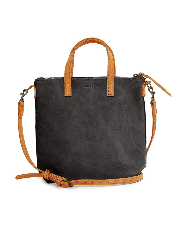 ABLE Abera Commuter Bag in Black and Cognac