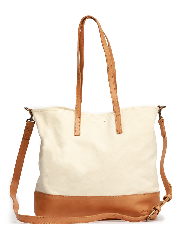 ABLE Abera Canvas Crossbody Tote - Natural/Cognac