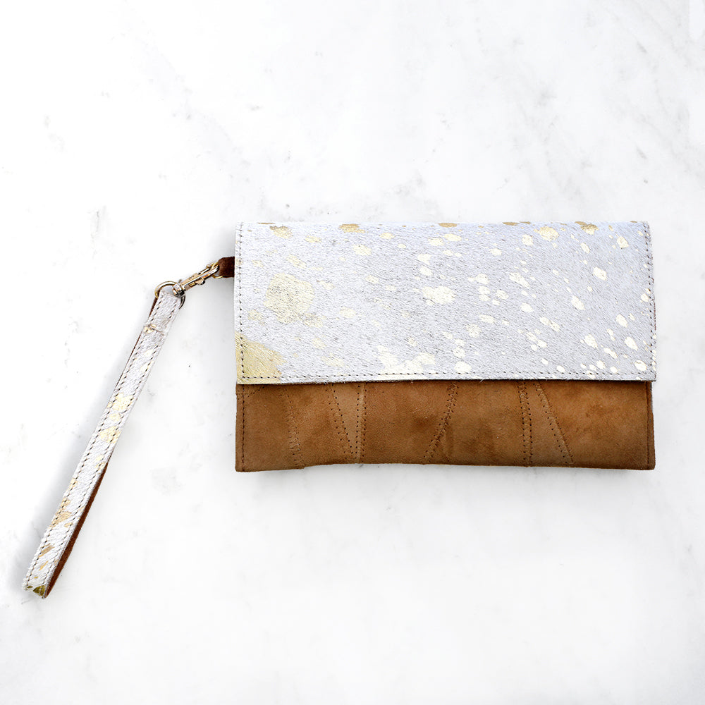 Alana Speckled Metallic Hide Wristlet