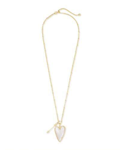 Kendra Scott Ansley Long Pendant Necklace in Gold Ivory MOP