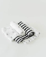 Little Unicorn Muslin Swaddle Set of 3 - Black and White
