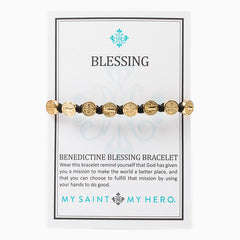 My Saint My Hero Blessing Bracelet-Gold/Black