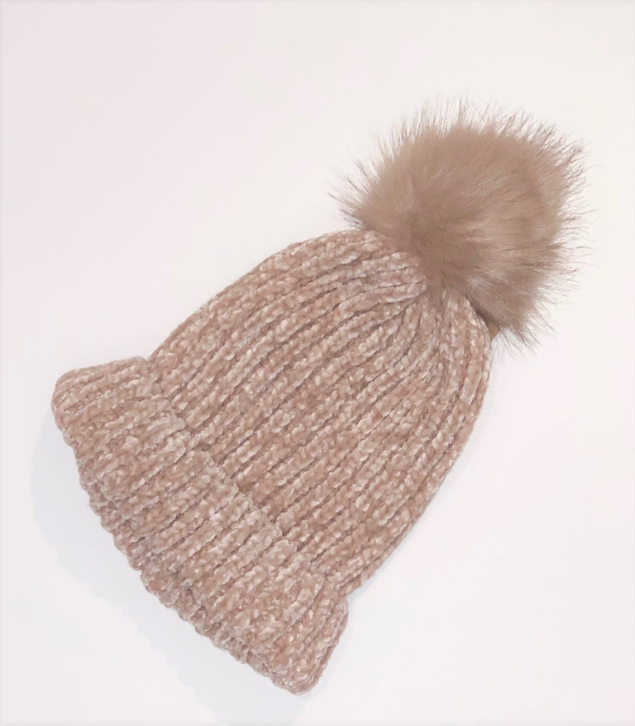 Chenille Pom Beanie - 4 Colors Available