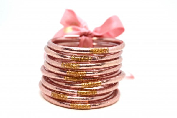 BuDhaGirl Rose Gold All Weather Bangles - Serenity Prayer