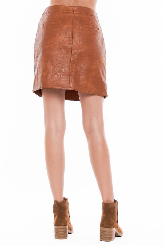 Camel Faux Leather Skirt