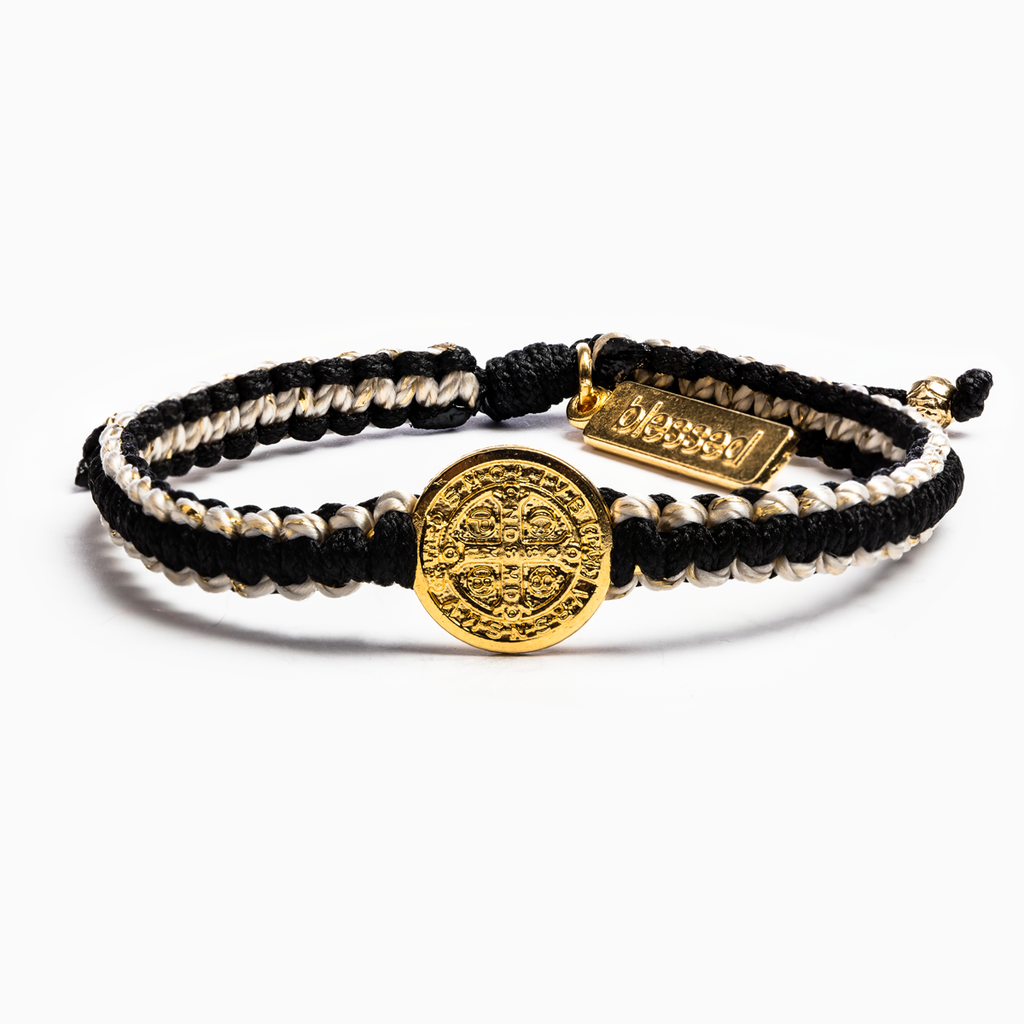 Gratitude Blessing Bracelet - Black and Tan with Gold