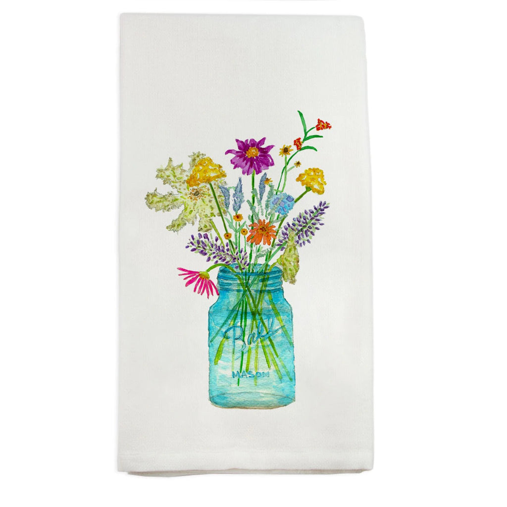 French Graffiti Wildflowers In Mason Jar Tea Towel