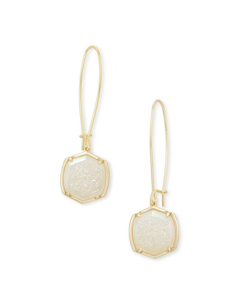 Kendra Scott Davis Gold Drop Earrings in Iridescent Druzy