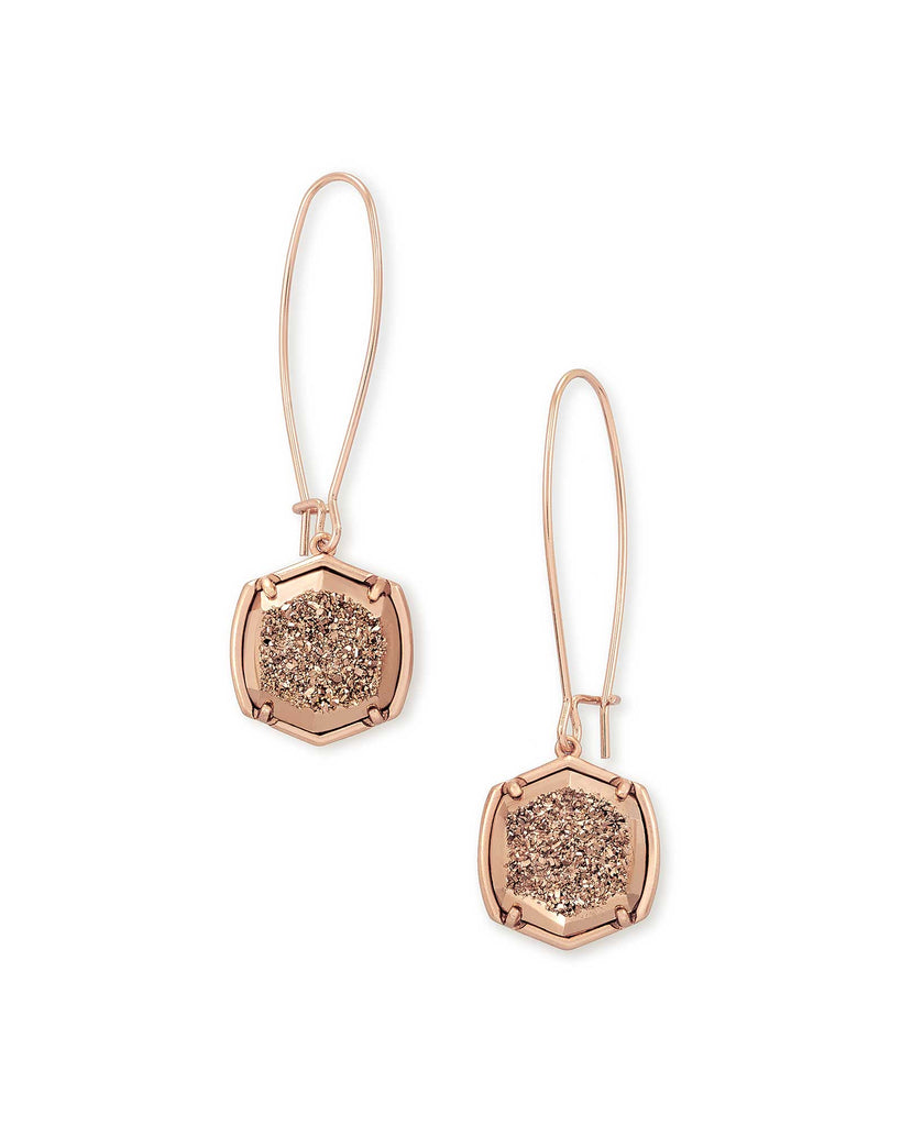 Kendra Scott Davis Rose Gold Drop Earrings in Rose Gold Drusy