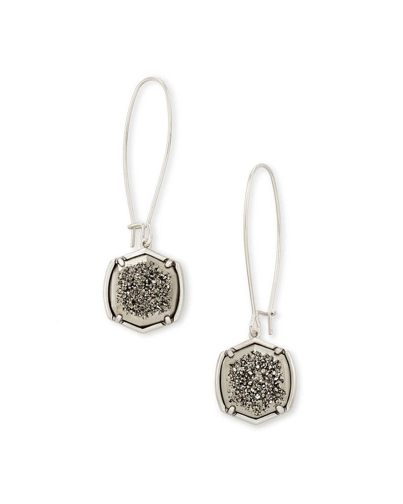 Kendra Scott Davis Silver Drop Earrings in Platinum Drusy