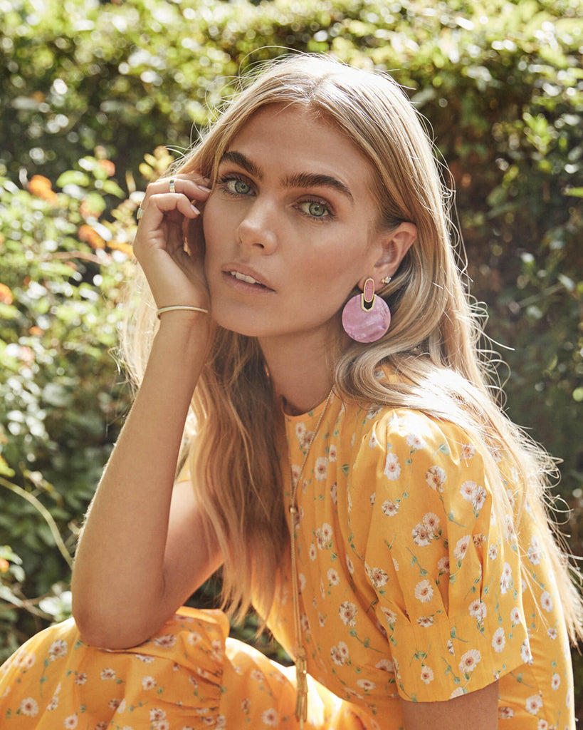 Didi Gold Statement Earrings In Azalea Illusion