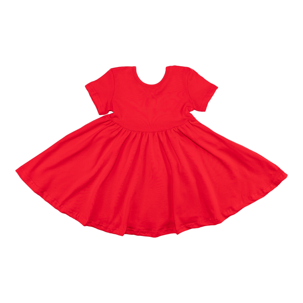 Short Sleeve Dark Coral Twirl Dress