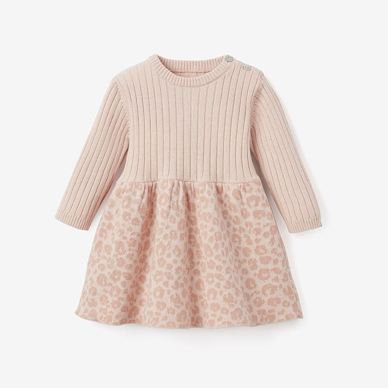 Elegant Baby Pink Leopard Dress