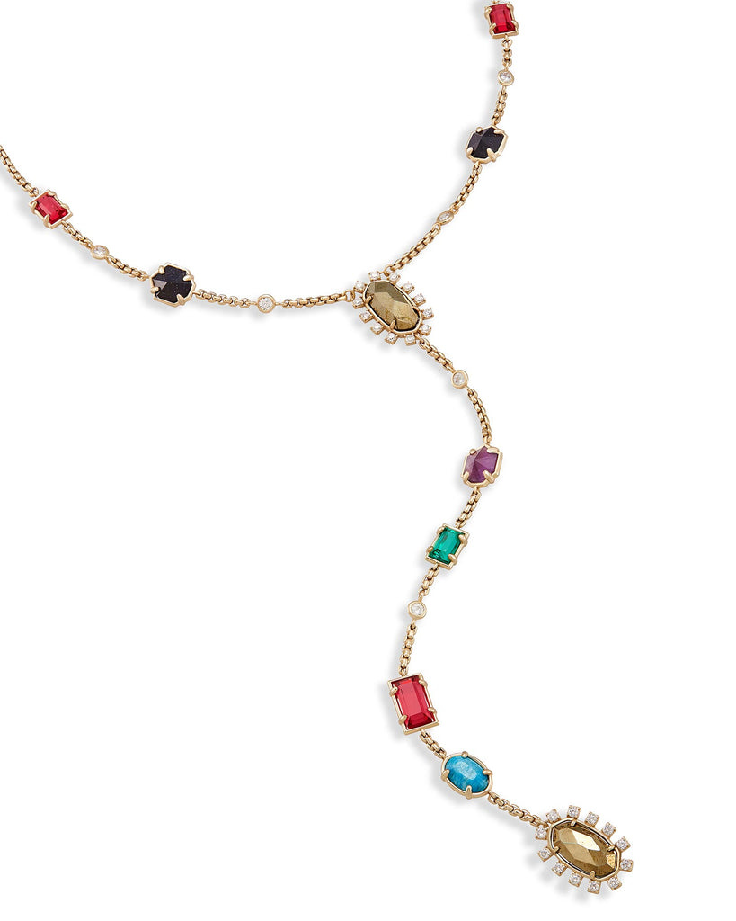 Liesl Y Necklace - Multi Gem Color Mix