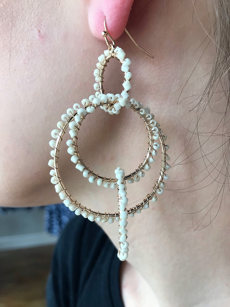Endless Circle Ivory Beaded Earrings