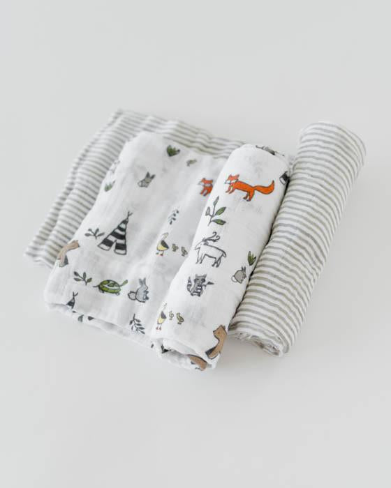 Little Unicorn Boxed Swaddle Blankets - Forest Friends, Set of 2