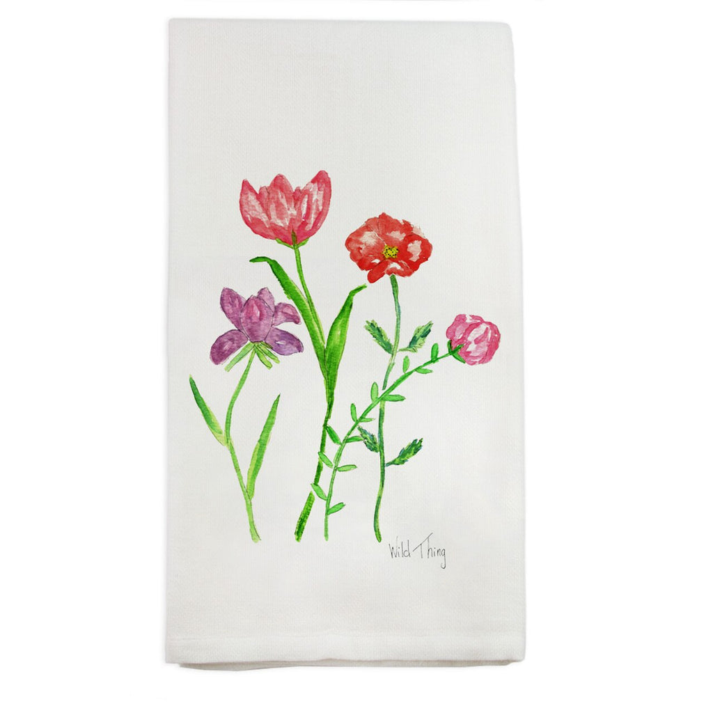 French Graffiti Floral Wild Thing Tea Towel