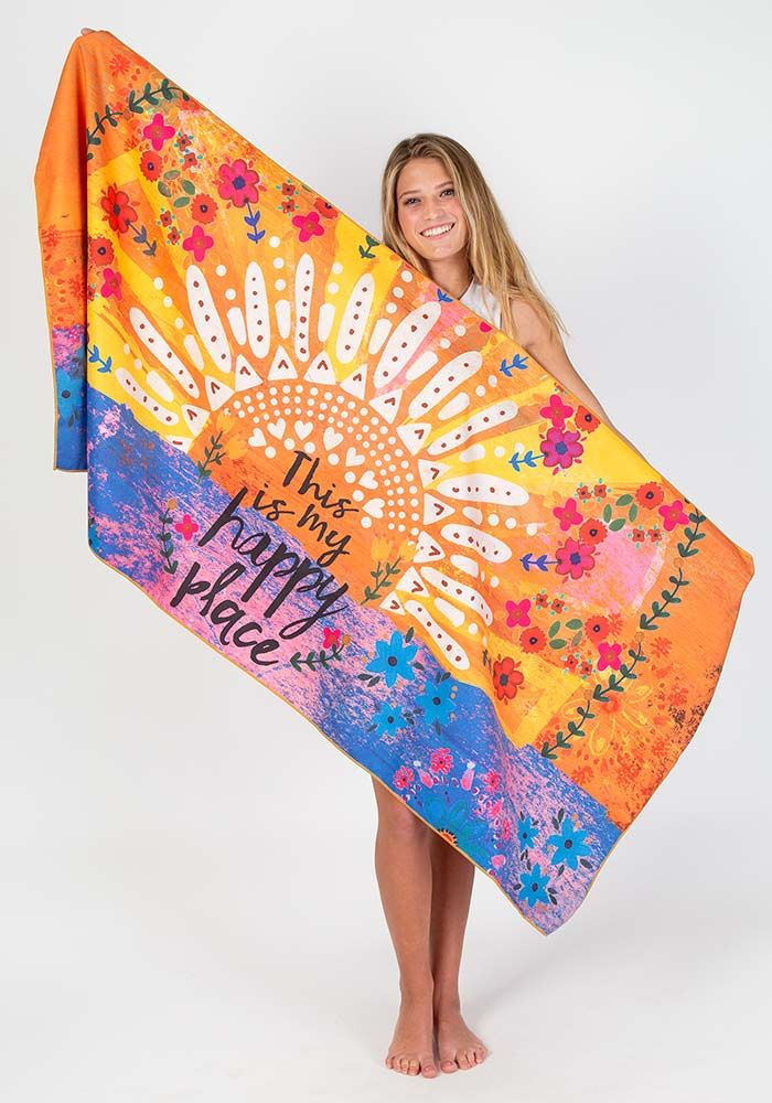 Microfiber Beach Towel - My Happy Place