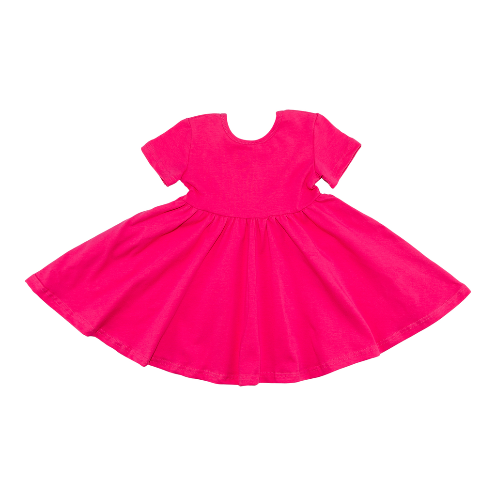 Short Sleeve Hot Pink Twirl Dress