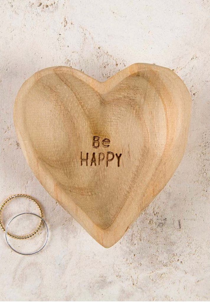 Natural Life Wood Heart Bowl - Be Happy