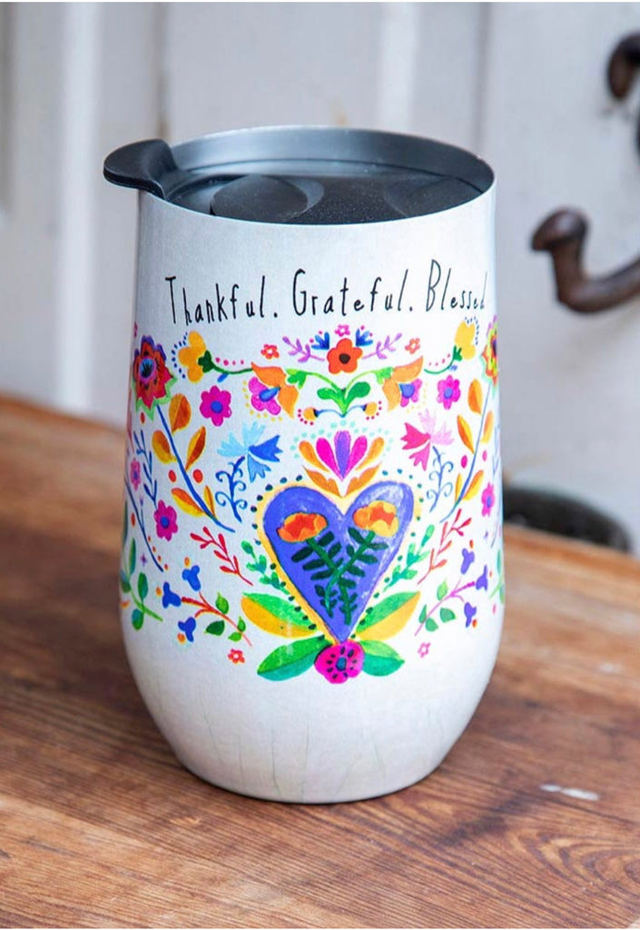 Natural Life Thankful Grateful Wine Tumbler