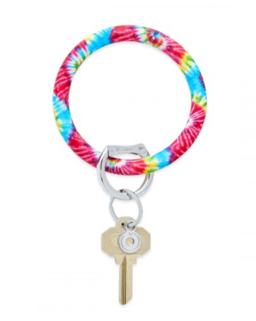 Big O Silicone Key Ring -Rainbow Tie Dye