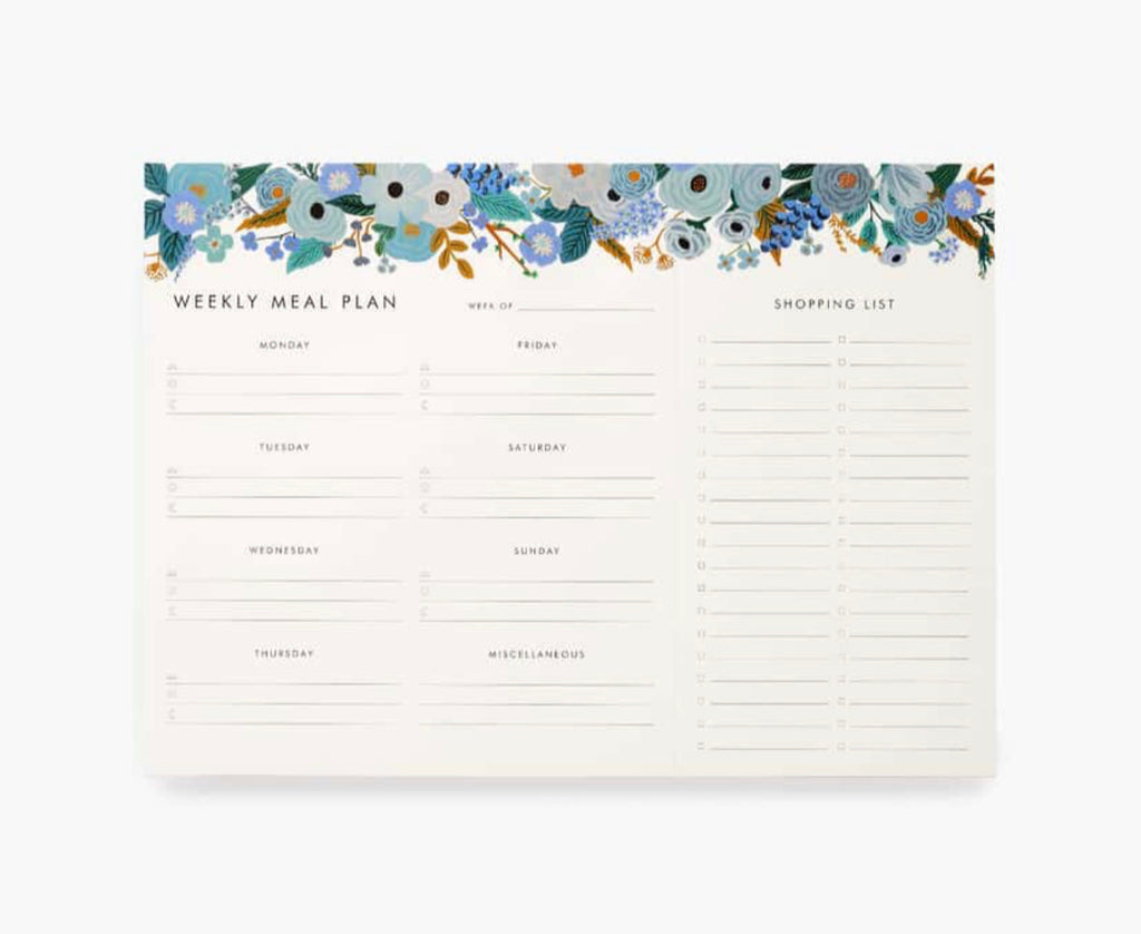 Rifle Paper Co. Garden Party Blue Meal Planner