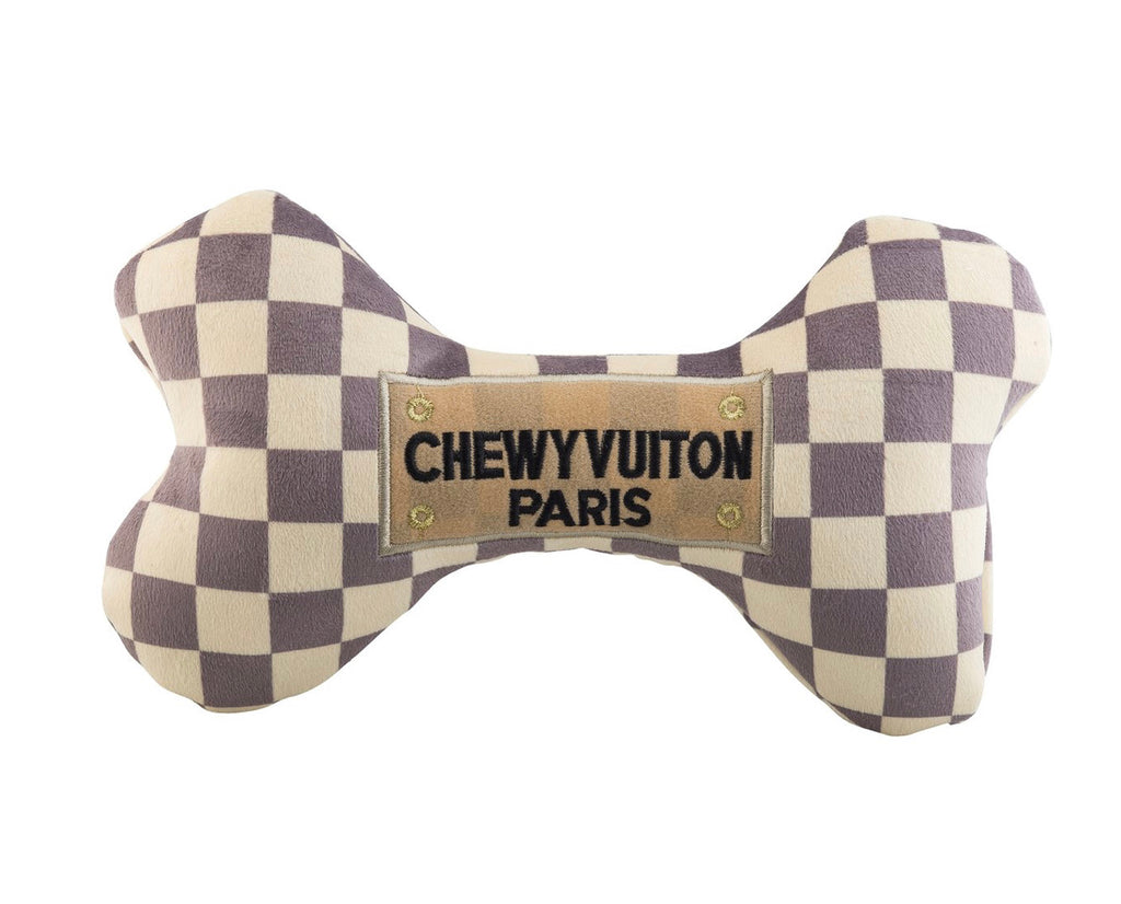 Haute Diggety Checker Chewy Vuiton Bone Toy- X Large