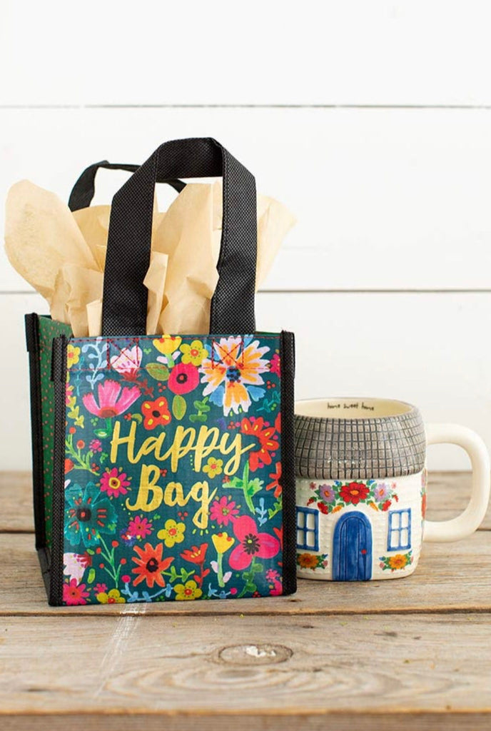 Natural Life Happy Bag -Small Teal Gold Floral