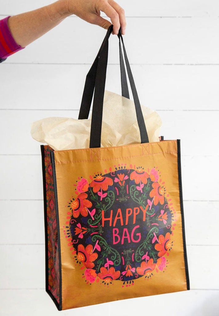 Natural Life Happy Bag-Mustard Pink Floral- X-Large