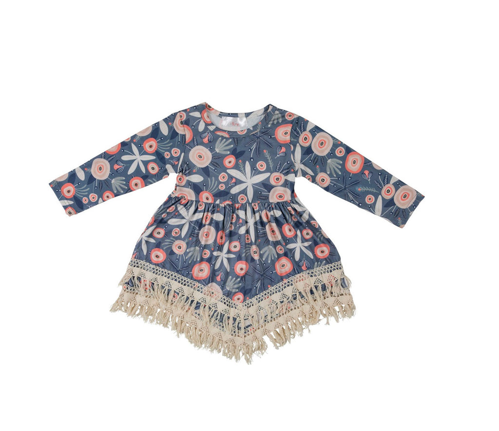 Mila & Rose Winter Blossom Boho Fringe Dress