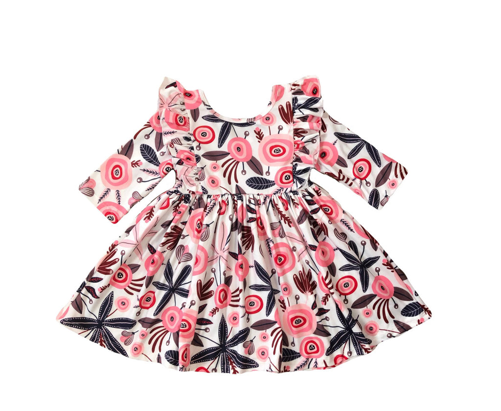 Mila & Rose Coral Blossom Ruffle Twirl Dress