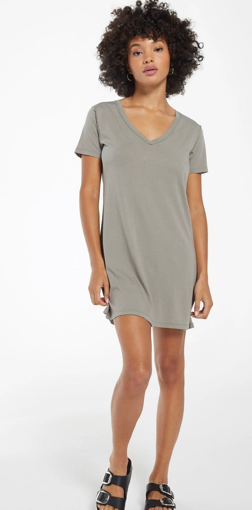 Z Supply Organic Cotton T-Shirt Dress in Dusty Sage