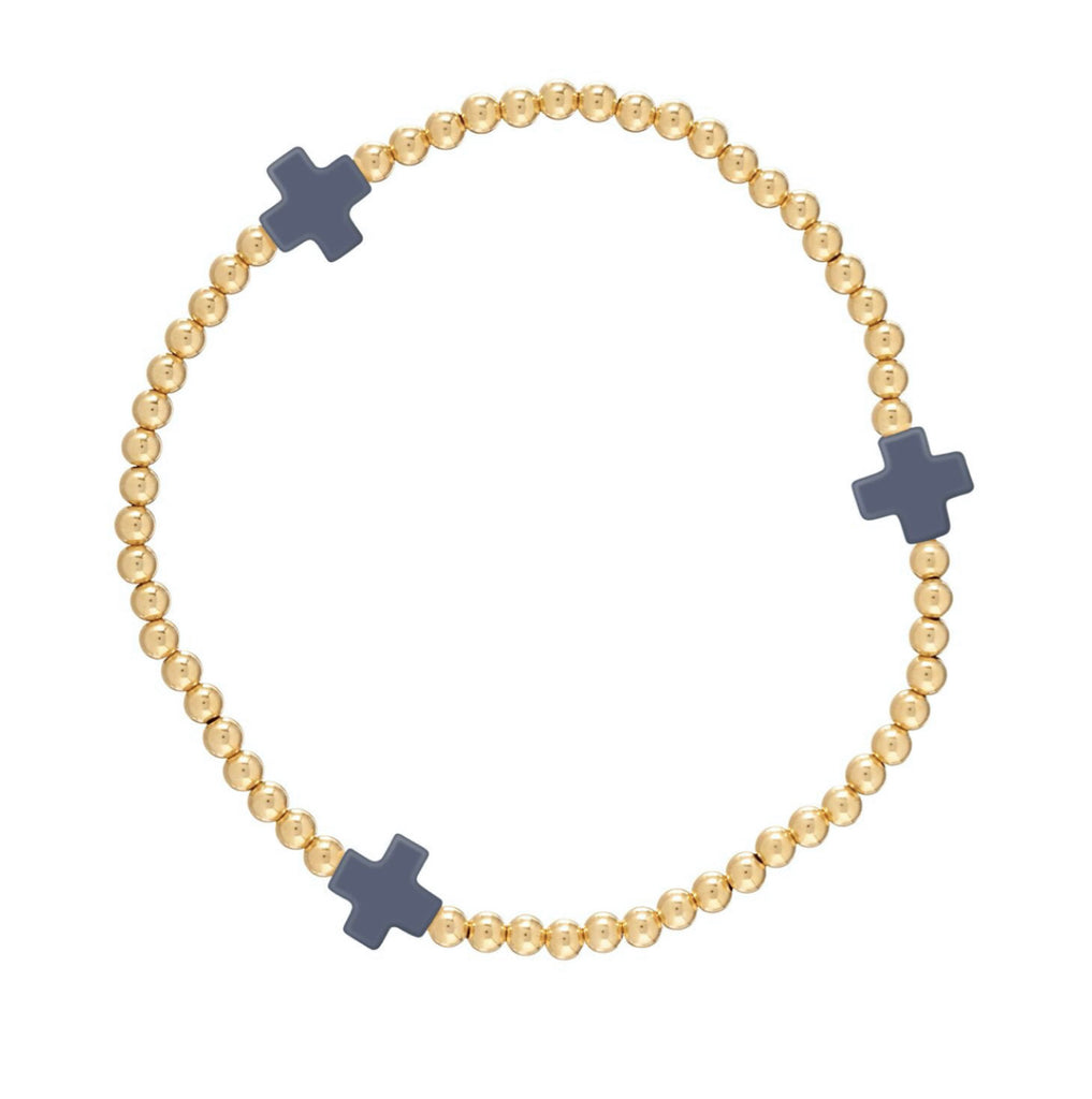 enewton Signature Cross Gold Bead Bracelet Navy