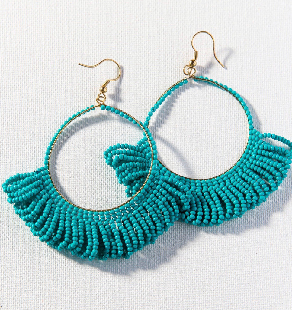 Ink + Alloy Fringe Hoop Seed Earring-Turquoise