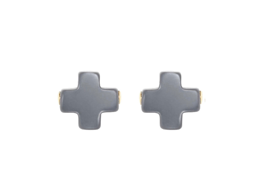Enewton Signature Cross Stud- Charcoal